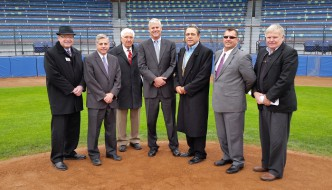 City Officials and Community Leaders joined representatives from The Prospect League in welcoming a new baseball team to Jamestown for the 2015 season. Attendees included (from left to right): Randy Sweeney, Chautauqua Region Community Foundation; Jamestown Mayor Sam Teresi; Mr. Baseball Russ Diethrick; Robert Schenosky, RS Entertainment marketing executive; Kevin Rhomberg, RS Entertainment co-owner; Prospect League Commissioner Bryan Wickline; and attorney Greg Peterson.