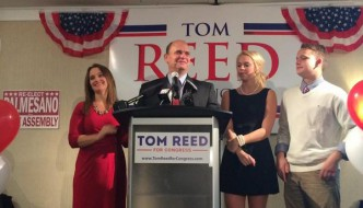Congressman Tom Reed (R-Corning) with his family following news that he won re-election on Election Night, 2014. (photo from www.Twitter.com/TomReedCongress)