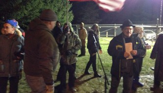 Labor was out in force Wednesday, Dec. 3, 2104 as hundreds of striking workers and representatives from other union groups attended a solidarity rally for employees at RHI Monofrax in Falconer.